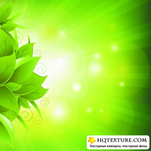Green Backgrounds with Leaves Vector