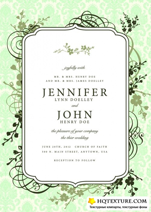 Pastel Floral Invitations Vector