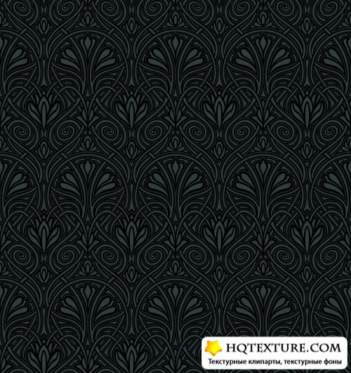 Black Damask Patterns Vector