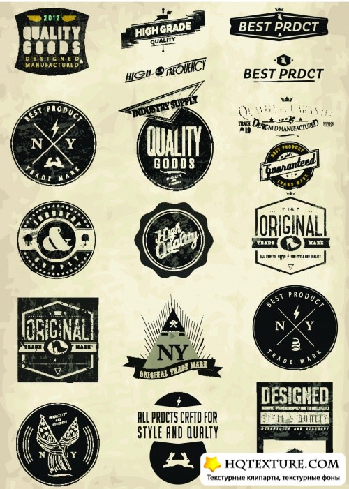 Grunge Style Labels Vector