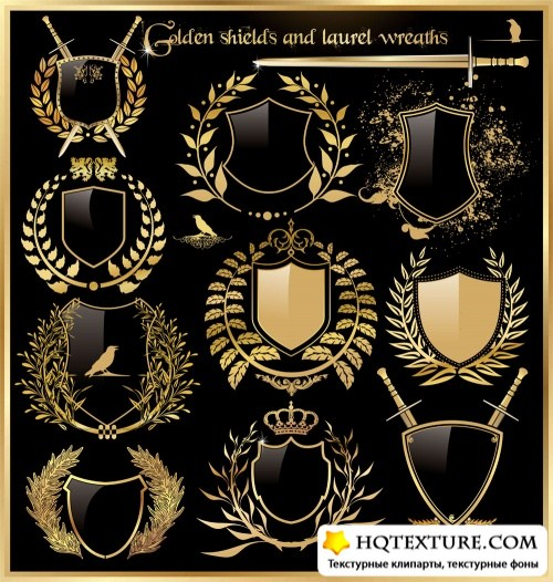 Golden labels and shields with laurel wreaths