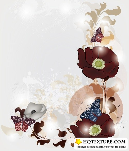 Grunge card with butterfly and flowers