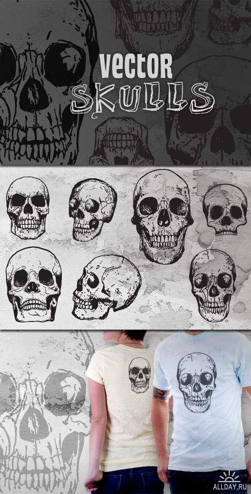 WeGraphics - Hand Drawn Vector Skulls Vol. 2