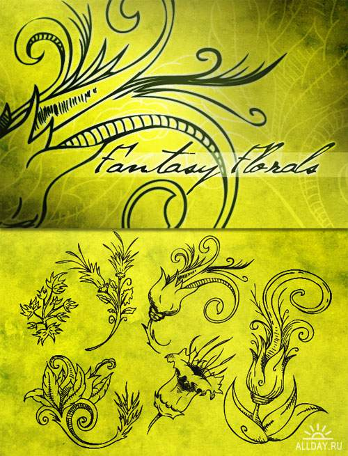 WeGraphics - Fantasy Floral Vector Set