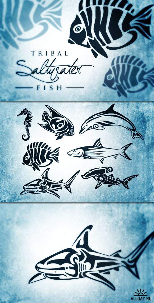 WeGraphics - Tribal Saltwater Fish Vectors