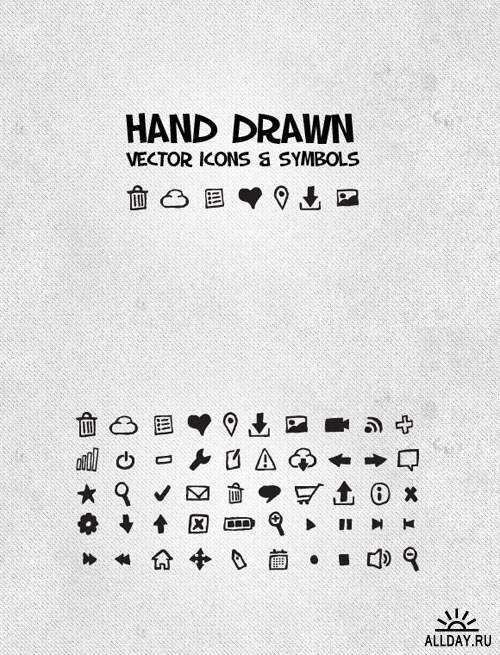WeGraphics - 50 Hand Drawn Vector Icons & Symbols
