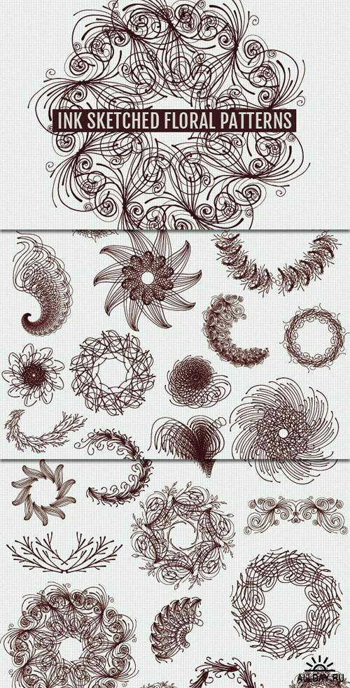 WeGraphics - 25 Ink Sketched Vector Florals