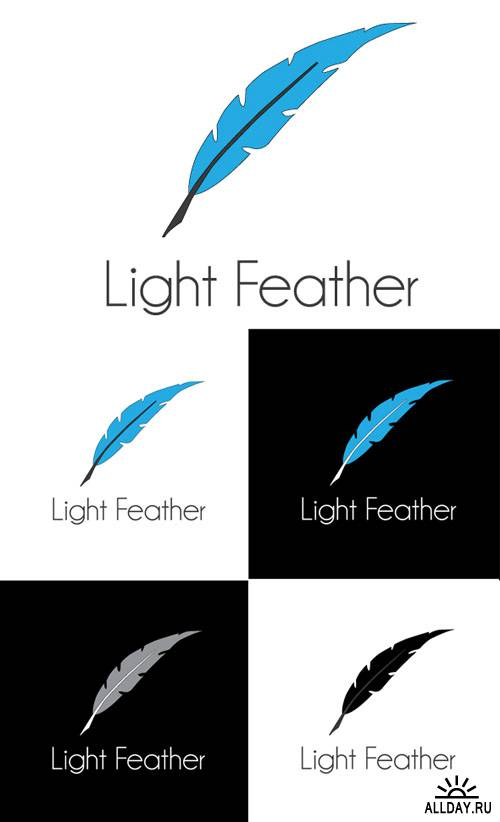 Light Feather Logo Vector Template