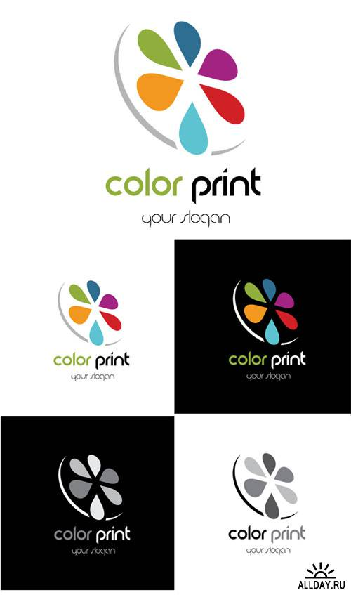 Color Print Logo Vector Template