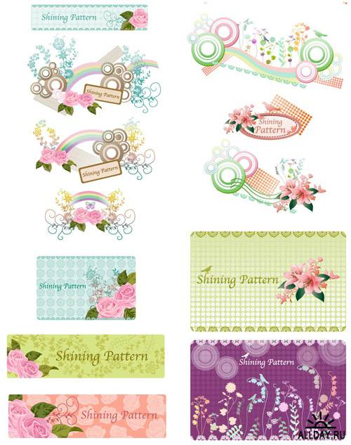 2 Vector Sets Romantic Pattern