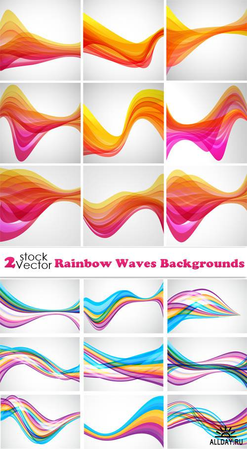 Vectors - Rainbow Waves Backgrounds