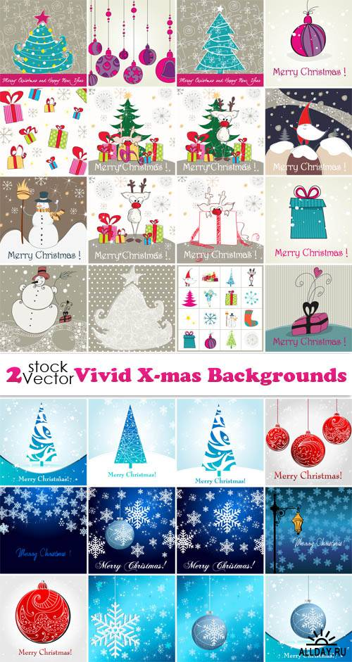 Vectors - Vivid X-mas Backgrounds