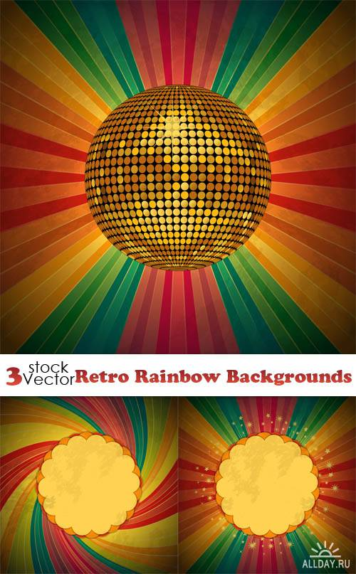 Vectors - Retro Rainbow Backgrounds