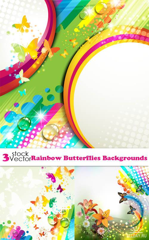 Vectors - Rainbow Butterflies Backgrounds