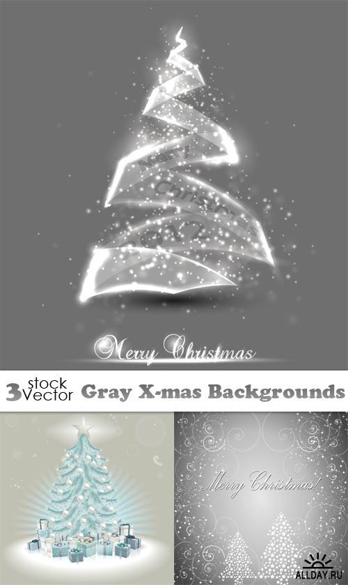 Vectors - Gray X-mas Backgrounds