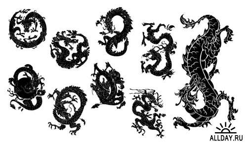 Japanese Dragons Photoshop Vector Pack 1
