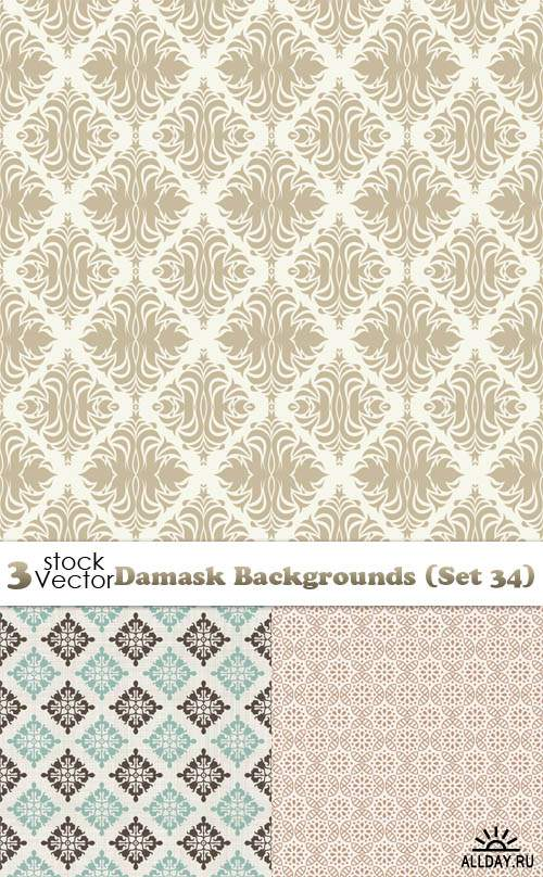 Vectors - Damask Backgrounds (Set 34)