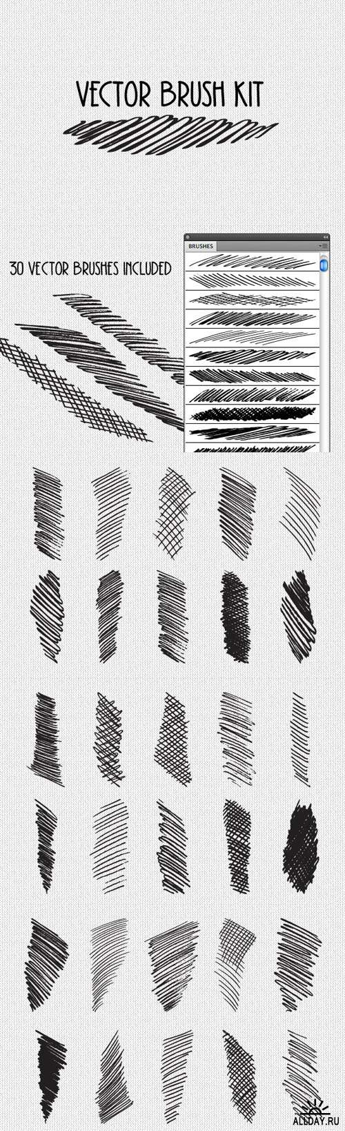 Vector Cross Hatch Brush Kit